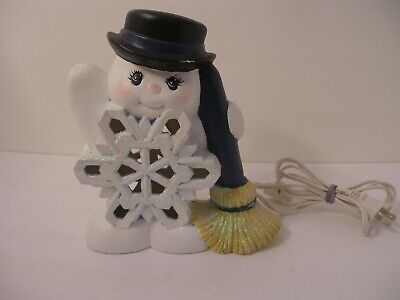 Vintage Frosty the Snowman Luminary Candle Light Up Ceramic Mold loc 2