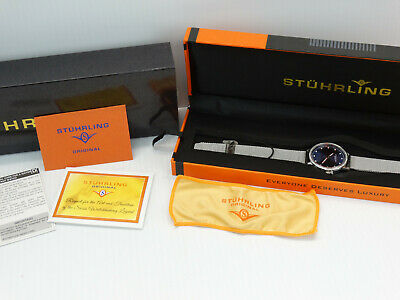 Stuhrling Women's Silver Case Mesh Band Watch w/Crystals in Bezel Blue Dial (C3)