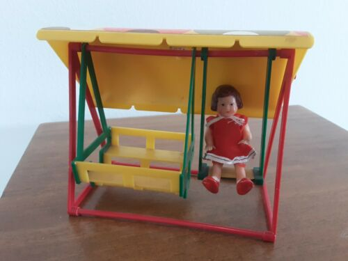 "Vintage 3"" Rubber Dressed ARI Doll Germany on Unmarked Plastic Lawn Swing Set"