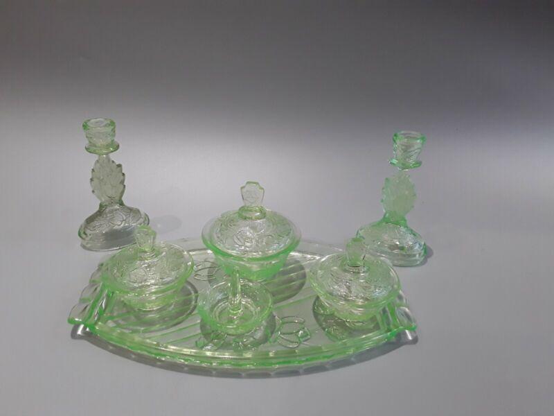 Walther & shone uranium glass Dressing Table set vgc.