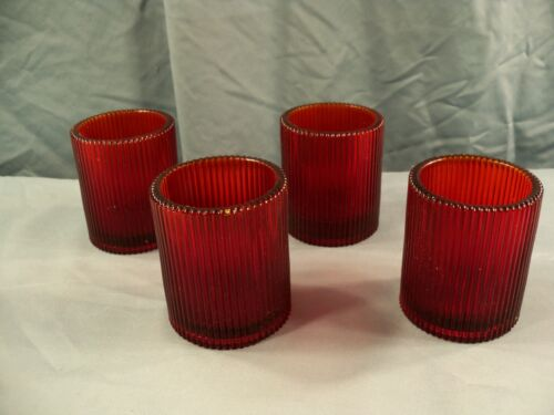 Set of 4 Ruby Red Glass Ribbed Design Votive Candle Holders