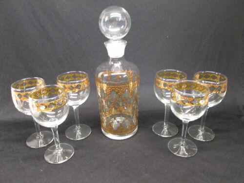 DECANTER SET 6 Culver Goblets Wines Glasses Barware Green Diamonds Gold Valencia