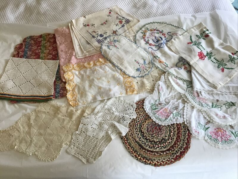 lot of 20 vintage dresser scarves, embroidered