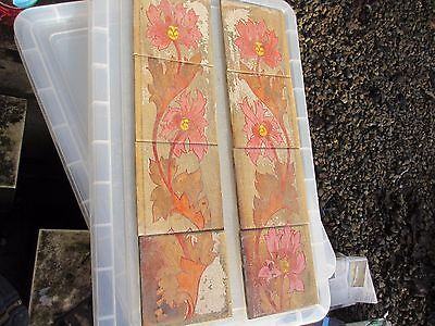 Antique Ceramic Tiles Hand Painted Floral Flower Leaf Design Vintage Old Nouveau