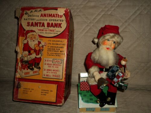 Vintage 1960 Trim A Tree Animated Santa Claus Tin Toy Bank With Box And Works