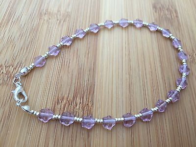 Pale Lavender Czech Glass Stars and Silver Beads Handmade Anklet Ankle Bracelet