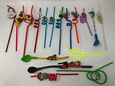 Lot of 17 Vintage Assorted Character Whacky Curly Plastic Drinking Straws