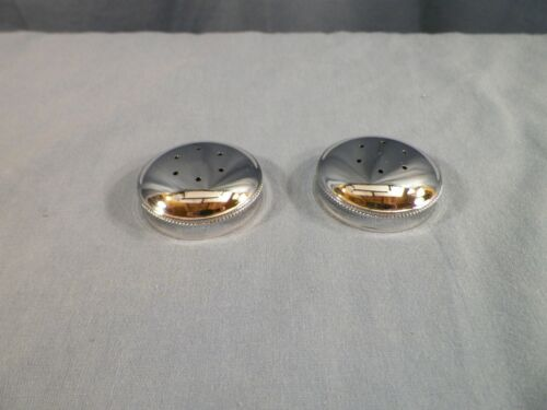 NOS Pair of Vintage Fenton Chromed Metal Salt & Pepper Shaker Lids Caps INV3