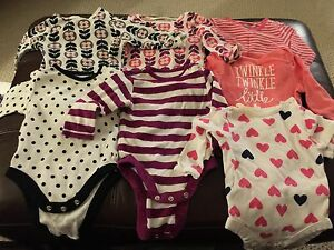 Infant bodysuits (7 long-sleeved, 3-6 mos)