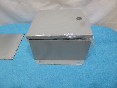 Hammond Ej884 -gray Steel Enclosure Eclipse Junior Series 8x8x4 Nema 13 Hinged