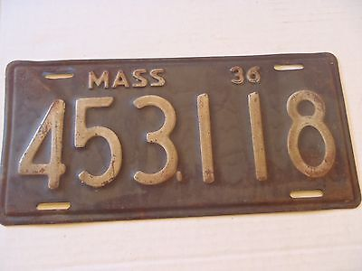 1936 Massachusetts License Plate Tag 453118