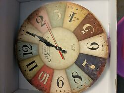 GRAZING CLOCK VINTAGE STYLE  12IN WALL CLOCK Cafe Tour Paris France