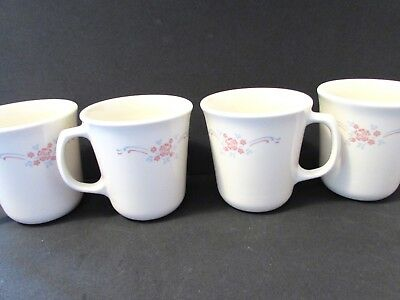 4 CORELLE CORNING WARE ENGLISH BREAKFAST COFFEE MUGS CUPS PINK BLUE RIBBON ()