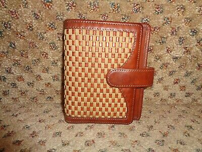 Franklin Covey Usa Brown Full-grain Leather Sail Thread Device Snap-close Case