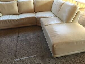 Cream leather Queen bed with mattress Plumpton Blacktown Area Preview