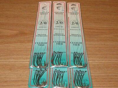 Size 8 Snelled Gold Aberdeen Hooks 144 total hooks 24 pks Dolphin Brand