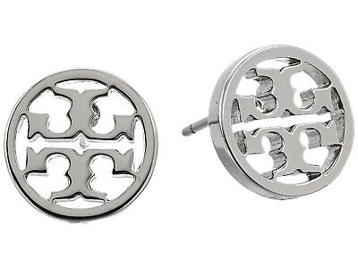 Tory Burch Classic SILVER Circle Logo Stud Earrings on Card w/ Gift Box