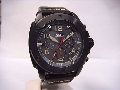FOSSIL MACHINE CHRONOGRAPH BLACK DIAL BLACK LEATHER STRAP MEN'S WATCH FS5000 NEW