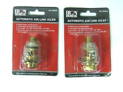 Set Of 2 Wood Industries Iron Horse Automatic Brass Air Line Oiler Ih-155aa