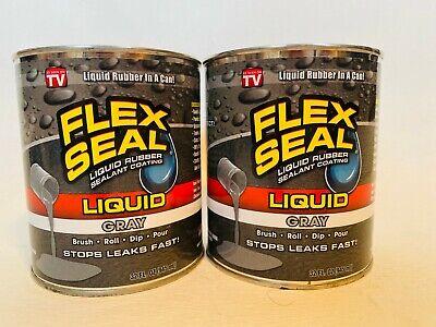 2 Flex Seal Liquid Rubber Sealant Coating Jumbo 32oz Gray
