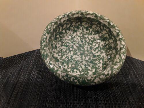 "Vintage Gerald Henn-Roseville Spongeware Pottery Green Cereal Bowl 6 1/2"""