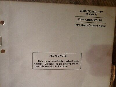 John Deere 22 32 Hay Conditioner Parts Catalog Manual Book Original Pc-948