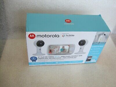 "Motorola 5"" Video Baby Monitor with 2 Camera Pan Tilt Zoom NIB"