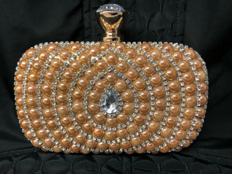 Yang Mi Gold Pearl Evening Wedding Bridal Prom Party Hard Clutch Purse Shoulder