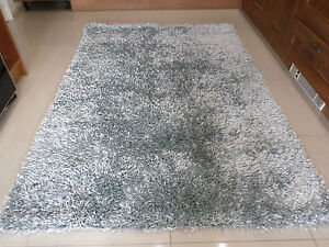 Spider Luxury Thick Shaggy Silver Grey Rug In Various Sizs