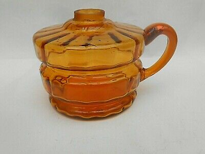 Antique ** AMBER ** Glass Hand Held Oil Lamp