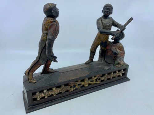 "Circa 1900 ""Darktown Battery"" Cast Iron Antique Mechanical Bank By J.E. Stevens"