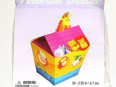 ~NOAH'S ARK TWO BY TWO~ 1-PAPER BABY SHOWER 24-TREAT BOXES MULTI-COLOR PARTY - Noah's Ark Party