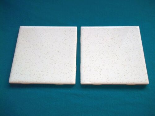 Two (2) Gold Speck 4 1/4 by 4 1/4 inch Vintage Ceramic Wall Tile