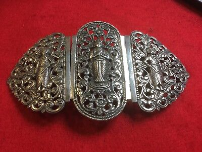 Fabulous Large Silver Asian Belt Buckle Highly Ornate. Stunning