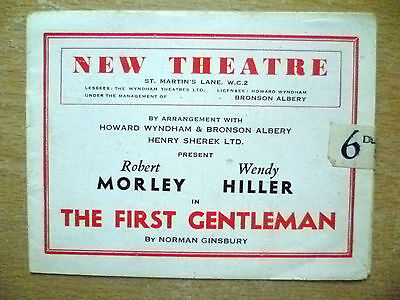 New Theatre Programme- Robert Morley,Wendy Hiller in THE FIRST GENTLEMAN