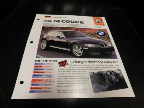 1998 BMW M Coupe Spec Sheet Brochure Photo Poster