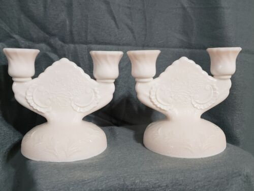 Jeanette Shell Pink Milk Glass Double Candle Holder Lombardi Pattern 20-1656