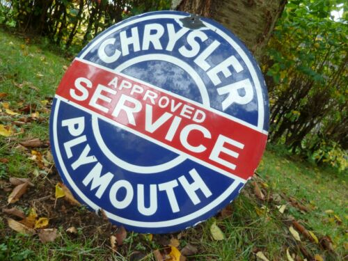 "CHRYSLER PLYMOUTH Porcelain Sign Advertising Vintage Service 20"" Domed Old USA"