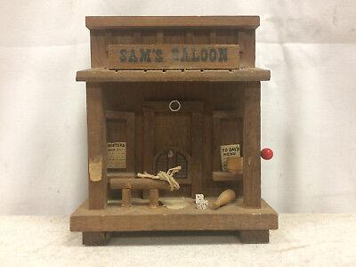 Vintage RARE Enesco Old Western Sam's Saloon Decorative Cowboy Music Box / Bank (Old Western Saloon Decor)