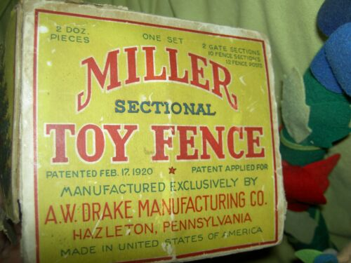 Rare antique labeled 1920 boxed Miller Christmas tree or toy train fence, 12 pc.