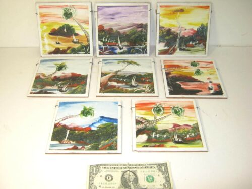 """Lot of 8 Hand Painted Tiles / Trivets - Artist Carlos S - 6"""" x 6"""""""