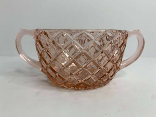 Anchor Hocking Waterford Pink Double Handle Open Sugar Bowl