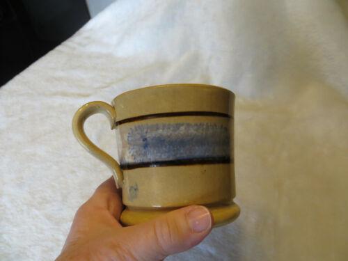 ANTIQUE MOCHA POTTERY SEAWEED MUG YELLOW WARE MOCHAWARE CUP 1800