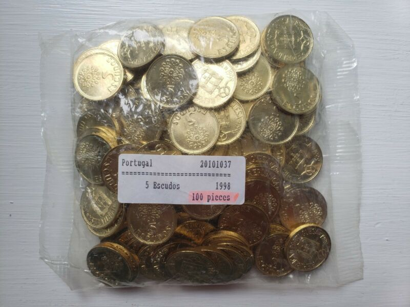 Bag of 100 Portugal 5 Escudos Uncirculated 1998 - Unopened Bank Bag