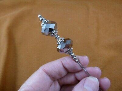 (U-12) Austrian crystal glass chrome-silver 2 bead hatpin Pin hat pins JEWELRY Austrian Crystal Hat Pin