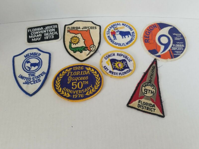 LOT OF 6 VINTAGE JAYCEES ANNUAL MEETING & STATE PATCHES
