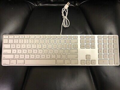 Apple A1243 Wired USB Keyboard White Aluminum  MB110LL/A with extension cable ()
