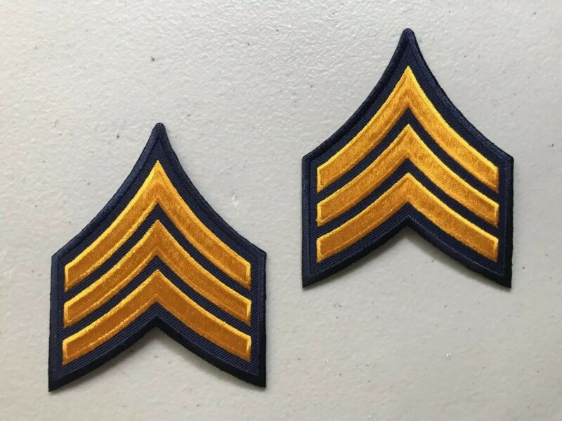 One Pair Sergeant Detective Police Military Security Stripes Patch Gold / Blue