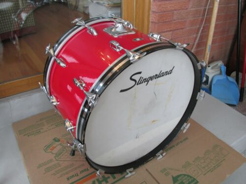 """Slingerland 14""""x22"""" Red Gloss Bass Drum All Hardware For Drum In Good Condition!"""