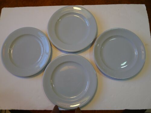 "Vintage Buffalo China Blue Lune 9"" Lunch Plates Set of 4"